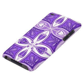 Heart Tiles Inspired by Portuguese Azulejos Purple Barely There iPod Case