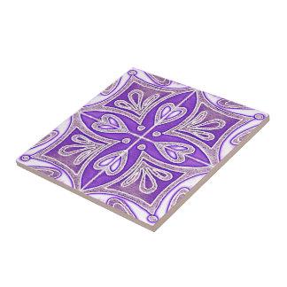 Heart Tiles Inspired Portuguese Azulejos Lavender