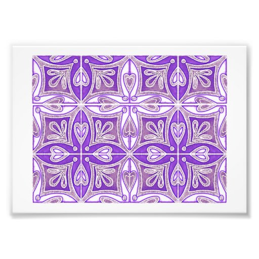 Heart Tiles Inspired Portuguese Azulejos Lavender Photo Print