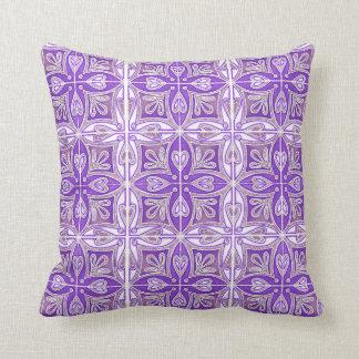 Heart Tiles Inspired Portuguese Azulejos Lavender Throw Pillow