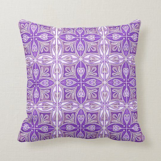 Heart Tiles Inspired Portuguese Azulejos Lavender Throw Pillow