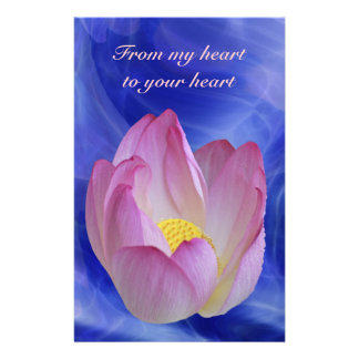 Heart to heart lotus flower stationery