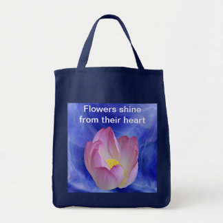 Heart to heart lotus flower tote bag