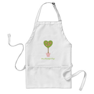 Heart Topiary with Pink Roses Adult Apron