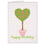 Heart Topiary with Pink Roses Card