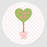 Heart Topiary with Pink Roses Classic Round Sticker