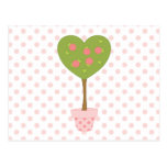Heart Topiary with Pink Roses Postcard