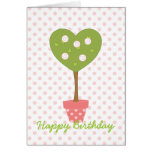 Heart Topiary with White Roses Card