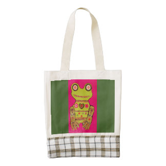 Heart Tote Bag with Bright Frog Zazzle HEART Tote Bag