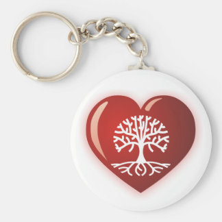 Heart Tree Basic Round Button Keychain
