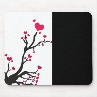 heart tree black mouse pad