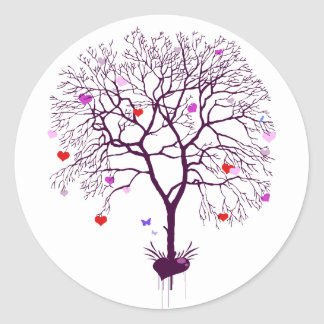 Heart Tree Classic Round Sticker