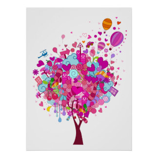 Heart Tree Doodle Print