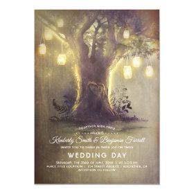 Heart Tree Mason Jar Lights Rustic Country Wedding Invitation