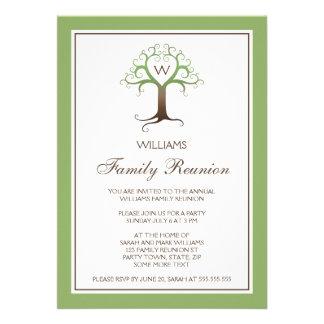 Heart tree monogram initial family reunion invite