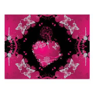 Heart Tree Of Love & Butterflies Postcard