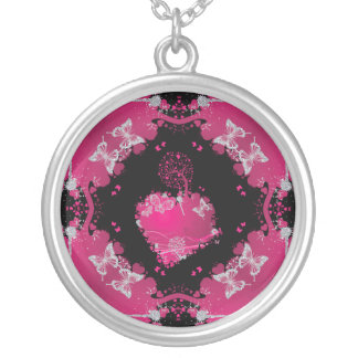 Heart Tree Of Love & Butterflies Silver Plated Necklace