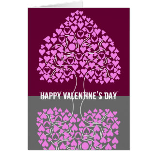 Heart Tree (pink purple grey) Valentine's Card