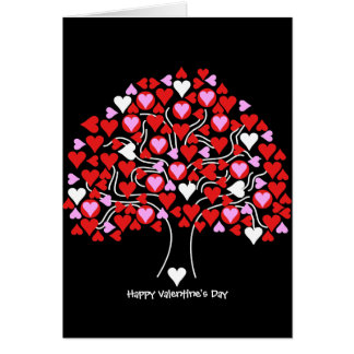 Heart Tree (pink & red) Valentine's Card