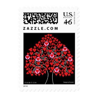 Heart Tree Red Valentine Postage stamp