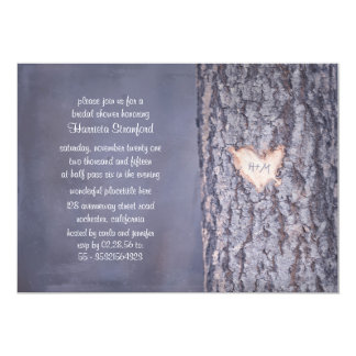 heart tree rustic country bridal shower invite