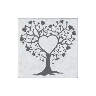 Heart Tree Stone Magnet
