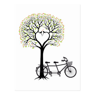 Heart tree with birds and tandem bicycle postcard