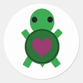 Heart Turtle Classic Round Sticker