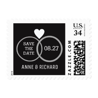 heart & two wedding rings personalized b&w postage