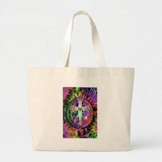 Heart Tye Dye Cross Tote Bag