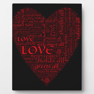 HEART TYPOGRAPHY BACKGROUND RED BLACK WALLPAPERS C PLAQUE