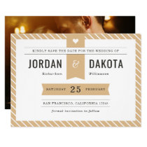 Heart & Typography | Beige Save The Date Photo Card