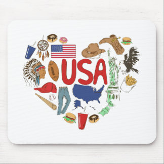 Heart U.S.A Mouse Pad