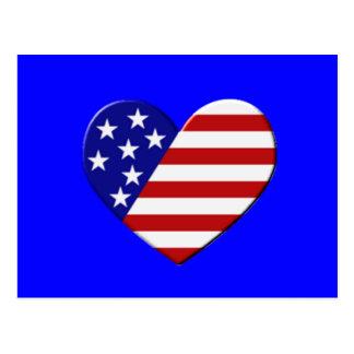 Heart USA Flag Postcard