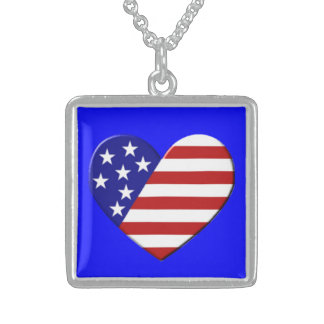 Heart USA Flag Sterling Silver Necklace