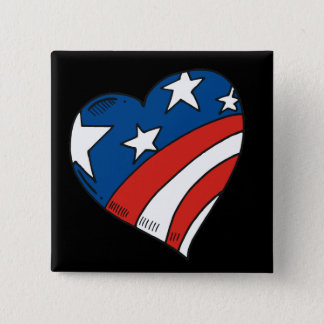 Heart USA Flag Tshirts and Gifts Button