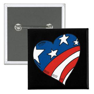 Heart USA Flag Tshirts and Gifts Pin
