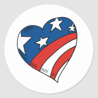 Heart USA Flag Tshirts and Gifts Round Stickers