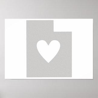 Heart Utah state silhouette Poster