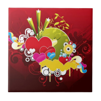 Heart-Vector-Graphic COLORFUL RED HEART HEARTS VEC Small Square Tile
