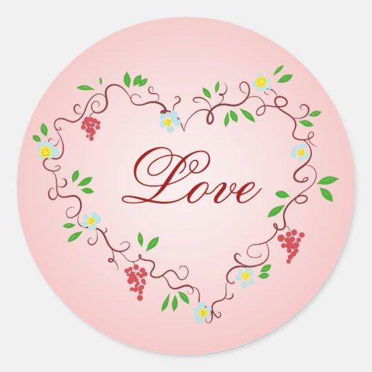 Heart Vines Classic Round Sticker