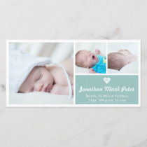 Heart Vintage Blue Birth Announcement Photo Card