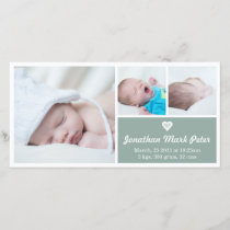 Heart Vintage Green Birth Announcement Photo Card