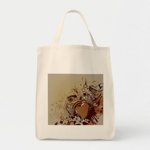 Heart ~ Vintage Retro Grunge Collage Art Grocery Tote Bag