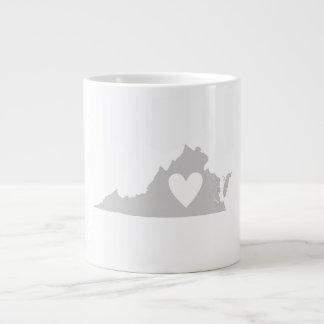 Heart Virginia state silhouette Large Coffee Mug
