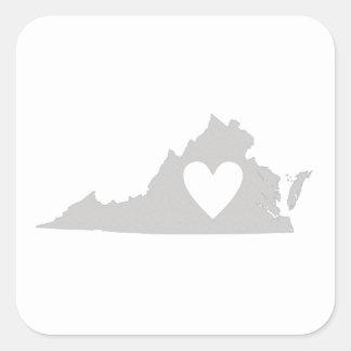Heart Virginia state silhouette Square Sticker