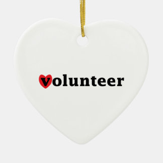 Heart Volunteer Double-Sided Heart Ceramic Christmas Ornament