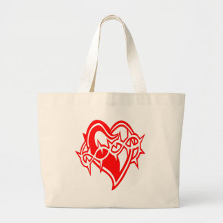 Heart w/ Barb Wire Tattoo Large Tote Bag