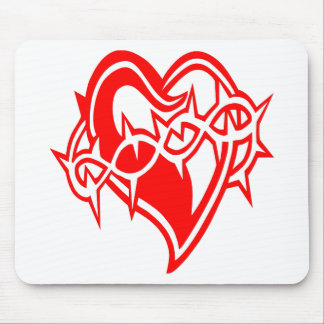Heart w/ Barb Wire Tattoo Mouse Pad