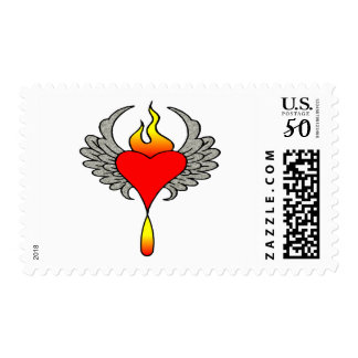 Heart W/ Stone Wings Postage